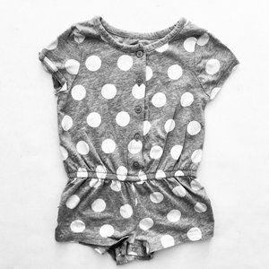 Baby Gap Grey & White Polka Dot Romper